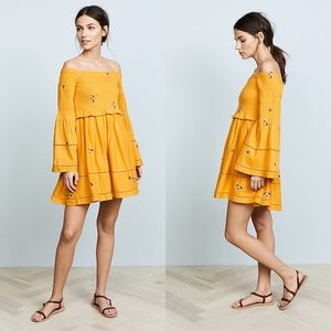 Free People Yellow Off-The-Shoulder Dress